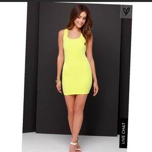 Lulu's chartreuse bodycon dress